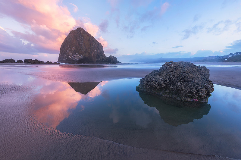 Tidal Pools Reflecting at Sunset - The Oregon Coast